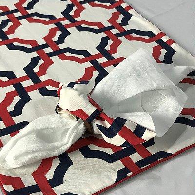 Jogo americano geométrico branco, marinho e vermelho c/ porta guardanapo