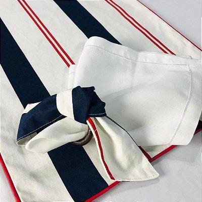 Jogo americano listras azul, vermelho e branco c/ porta guardanapo