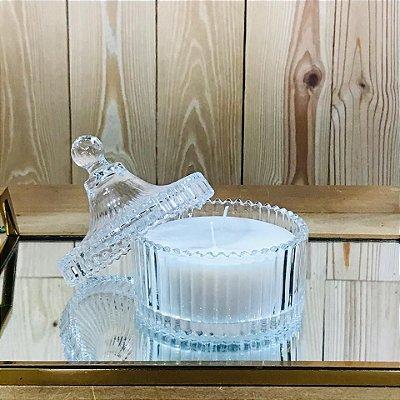 Vela aromatizada no pote de vidro - Capim Limão