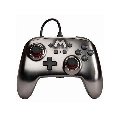 Controle Com Fio Power A Wired Super Mario Silver - Switch