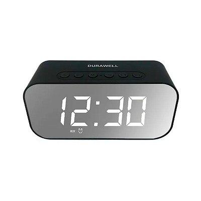 Caixa de Som DuraWell Bluetooth Speaker Rádio Relógio SPK-B015 Preto