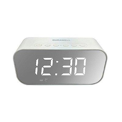 Caixa de Som DuraWell Bluetooth Speaker Rádio Relógio SPK-B015 Branco