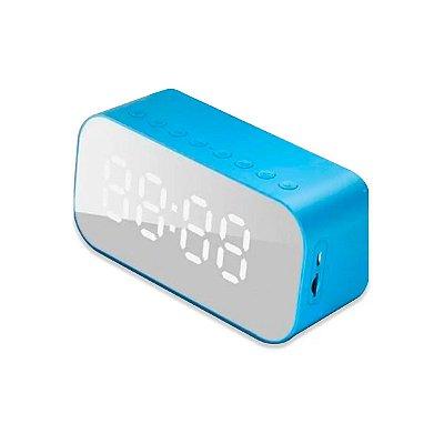 Caixa de Som DuraWell Bluetooth Speaker Rádio Relógio SPK-B015 Azul