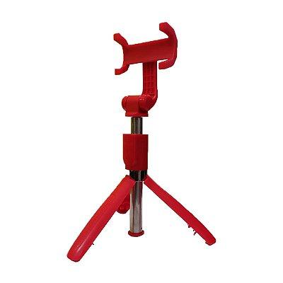 Bastão de Selfie Tripé Renux SPO-5137 Controle Bluetooth 70cm Vermelho