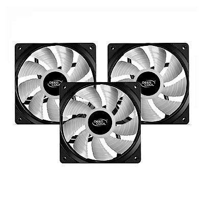 Kit 3 Fans DeepCool Solid RF120 120mm Preto RGB