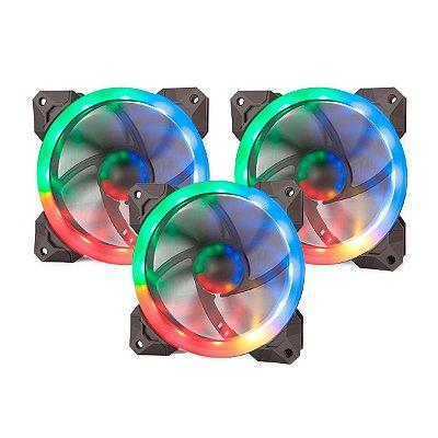 Kit 3 Fan Redragon Solid GC F008 120mm Preto RGB com Controlador