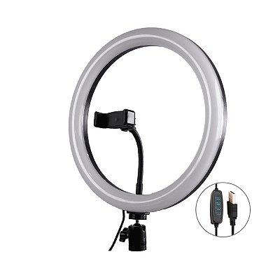 Iluminador Ring Light SXZ LED 26cm USB com Tripé 165cm e Controle