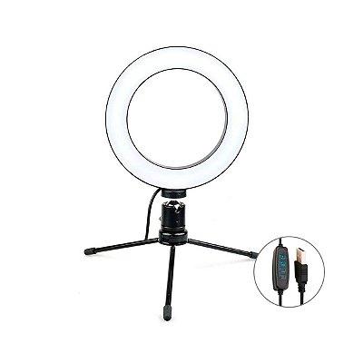 Iluminador Ring Light LED 15cm USB com Tripé e Controle C1N