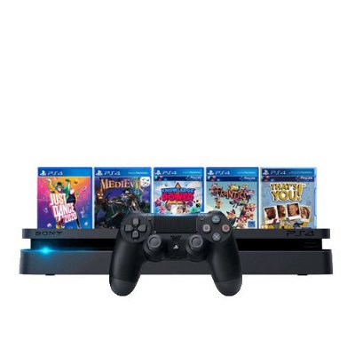 Console PS4 Slim 1TB Preto + Just Dance 2020 + Medievil + Knowledge is Power + Frantics + That's You + 3 meses PSN