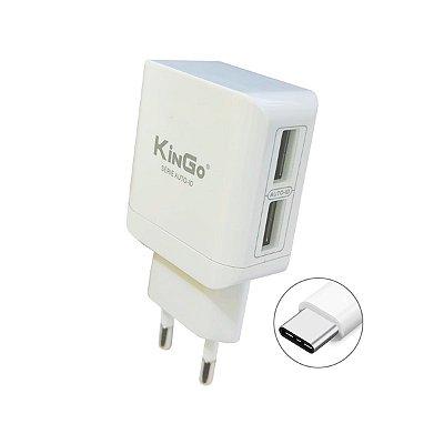 Fonte Celular Kingo U204 Dual 2.4A com Cabo USB Tipo-C