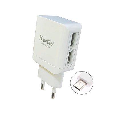 Fonte Celular Kingo U204 Dual 2.4A com Cabo USB V8