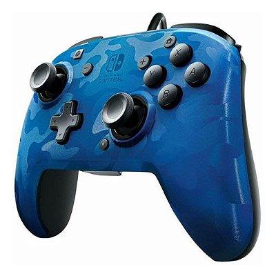 Controle Com Fio Power A Wired Camuflado Azul- Switch