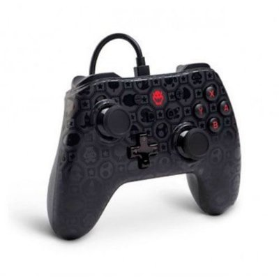Controle Com Fio Power A Wired Bowser Shadow Edition- Switch
