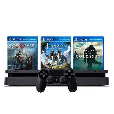 Console PS4 Slim 1TB Preto + God of War + Horizon Zero Dawn + Shadow Of The Colossus + 3 Meses PSN