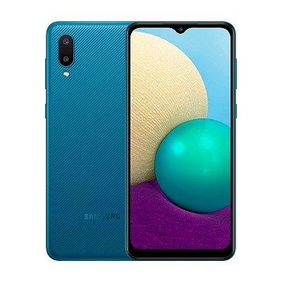 Smartphone Samsung Galaxy M02 32GB 3GB Azul + Brinde Cartão MicroSD 32GB