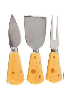 Kit De Cortadores Queijo 3 Pçs Inox Plástico