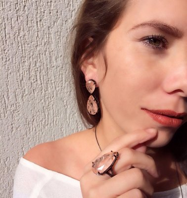 Anel Ródio Negro - Gota Morganita