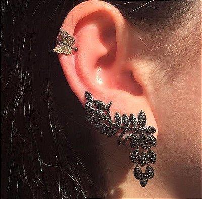 Ear Cuff Ródio Negro - Folhagem