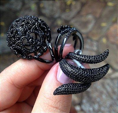 Conjunto de Anéis Ródio Negro