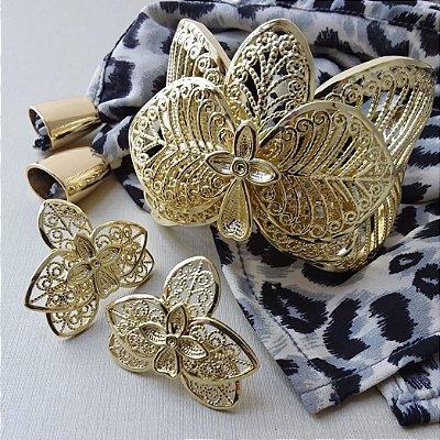 Bracelete flor dourado