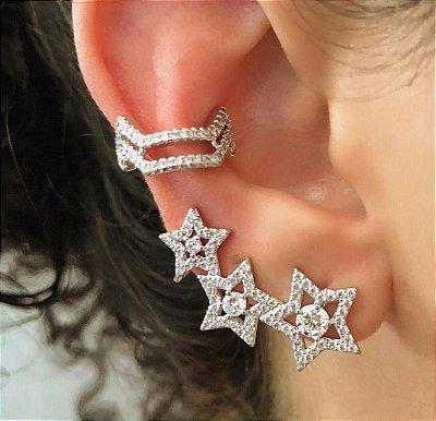 BRINCO EAR CUFF ESTRELAS E PIERCING