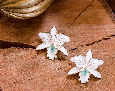 Brinco Orquidea Esmaltada Branca
