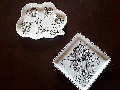 Jogo pratos decorativos Frida