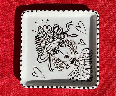 Prato Quadrado Frida P&B
