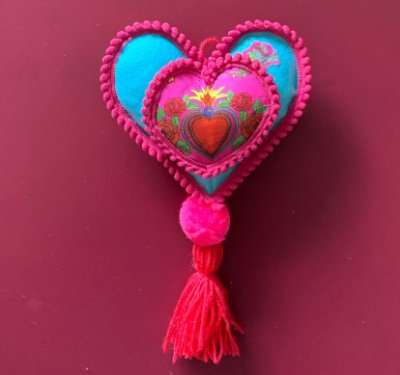 Adorno de parede frida corazon turquesa