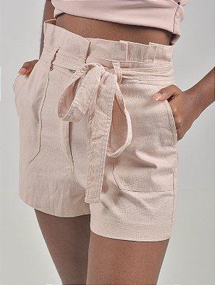 Short Washed Linen Bolso Faixa Pesponto