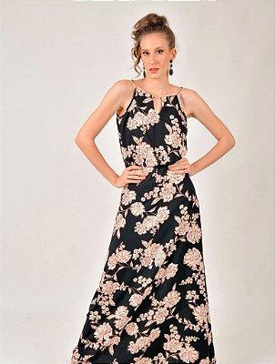 Vestido Longo Viscose Floral Pingente Metal