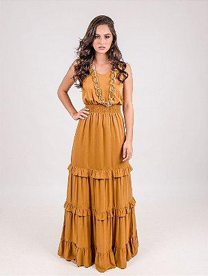 Vestido Longo Crepe Acetinado Lastex e Camadas