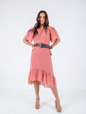 Vestido Cigana Transparência Rustic Babado