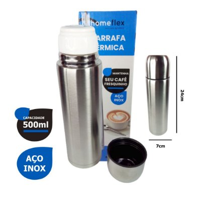 Garrafa Térmica Inox Portátil P/ Café Chá 500ml - Home Flex