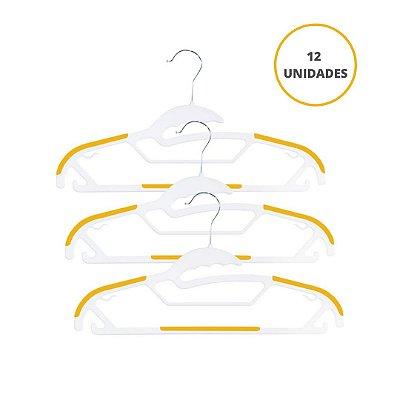 Kit Cabide Multiuso Coleção Jack Amarelo e Branco - 12 Unidades - OIKOS