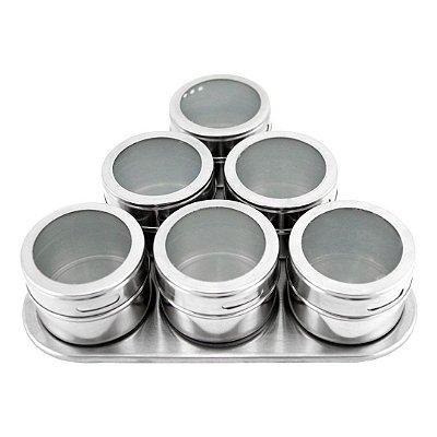 kit 06 Porta Temperos em Inox escovado magnético - Clink