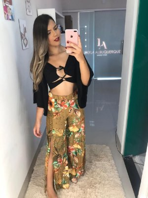 Calça Pantalona Floral Marrom