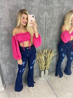 Calça Flare Jeans Escura