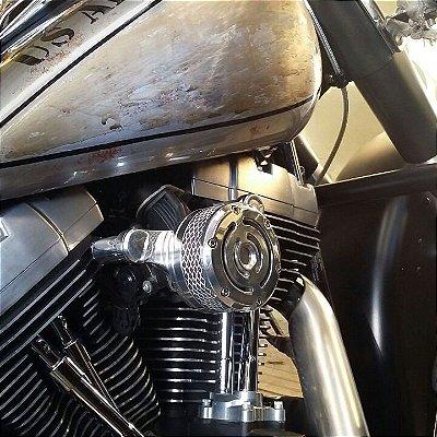 Filtro de ar  modelo Old School Snyper com suporte em alumínio usinado.