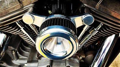 Filtro de ar  modelo Heavy Flux com suporte em alumínio usinado para toda linha Harley Davidson.