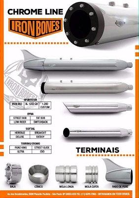 Ponteiras de 3 polegadas com abafador removível  para Dyna, Sportster e Softail - CROMADA