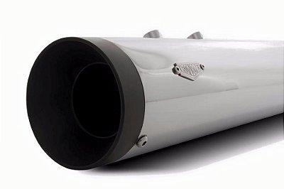 Filtro ar modelo Retrô + Ponteiras de 3 polegadas com abafador removível - CROMADAS
