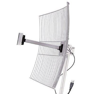 Antena Wireless Parábola de Grade 25 dBi - 2,4 GHZ - Cabo USB 10 mts - USB-2510 - Aquário