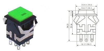 Chave Botão - NA/NF - Sem Trava - 18,5x18,5MM 6T+2T - 3A/250VAC - Verde - Com LED - Importado