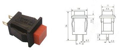 Chave Botão - NA - Sem Trava - 14X14MM - 4A/125VAC - Vermelho - Importado