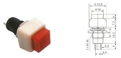 Chave Botão - NA - S/TRAVA - 15X15MM - 2A/250VAC - BC/Vermelho - Importado