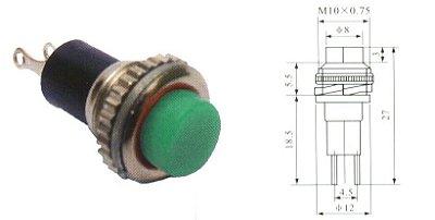 Chave Botão - NA - S/TRAVA - DIAM. 12MM - Verde - Importado