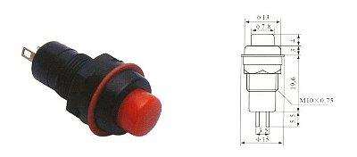 Chave Botão - NA - Sem Trava - DIAM. 13MM - Vermelha - Importado
