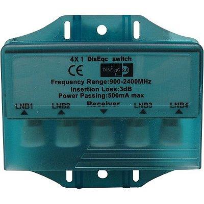 Chave Diseqc Comutadora 4X1 C/ Capa Prova D'água - 2.0 - Importado