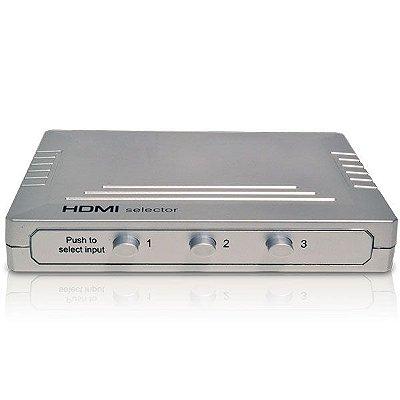 Chave Seletora HDMI 3X1 Prata - Versão 1.3 - Importado